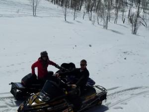 Snowmobiling Near Cabin